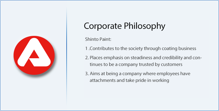 Corporate philosophy SHINTO PAINT 1. Contribute to social development through paint business. 2. We will continue to be a trusted customer by steadiness and credibility. 3. Employees have a attachment and aim to be a company that can be more proud.